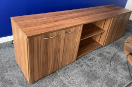 Wooden Sideboard w/3 Sections & 2 Lockable Cupboards   Overall 240x53x72cm