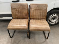 4 x Rusty/Water damaged Iron Leather Chairs