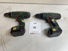 2 x Bosch PSB 18 Li-2 Cordless Combi Drills