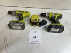 2 x Ryobi CDC1802 Hammer Drills w/ Charger