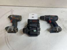 2 x Various Bosch GDR 18-LI Cordless Impact Wrench/GSB 18 V-Li Cordless Combi Drill