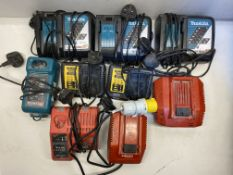 9 x Various Branded Powertool Battery Chargers