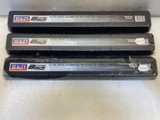 3 x Sealey AK624B Micrometer Torque Wrench 1/2in Sq Drive Calibrated Black Series   RRP £126