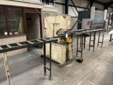 Geka Puma 55/E-500 Punching Machine w/ 3 x Gravity Roller Conveyors & Guide Rail