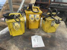 3 x Various Portable Site Transformer Units w/ 3 x Various Extension Reels