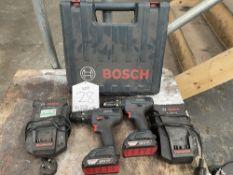 2 x Bosch Professional GSB 18-2-Li Plus Combi Drills in Case w/ Batteries & Charging Stations