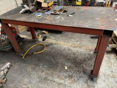 Metal fabricated worktable on castors