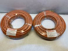 2 x Weldability 10MM 20MTR 3/8 FITTED ORANGE HOSE