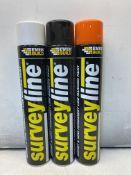 15 x Various Coloured Everbuild Surveyline Survey & Semi Permanent Line Marking Paint