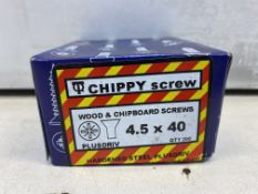 20 x Boxes Of Chippy Wood & Chipboard Screws 4.50 X 40 Zinc Plated & Yellow Passivated ( 200 Per Box