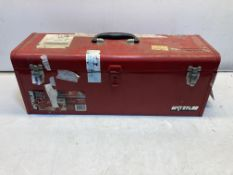 Metal Toolbox Containing Various Tools & Spare Parts