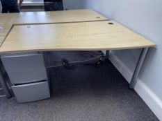 3 x Light Wood Effect Office Desks/W 3 Drawer Metal Pedestal