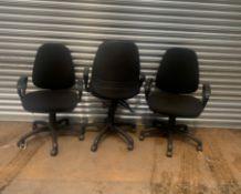 3 x Black Fabric Wheeled Office Chairs