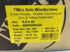35 x Boxes Of TimCo Solo Woodscrews, Cross Recess - Double Countersunk Zinc & Yellow Passivated, 4.0