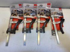 4 x Bessey KLI-20 200mm Kliklamp Ratcheting Bar Clamp 200/80
