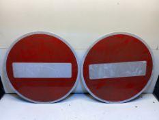 2 x Metal No Entry Signs