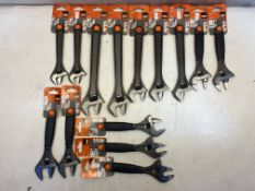 14 x Various Bahco Adjustable Wrenches