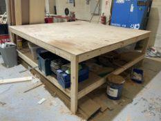 Wooden Workshop Table w/ Undershelf | 235cm x 245cm x 90cm