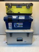 3 x Various Empty Toolboxes as Pictured