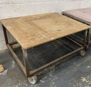 4 x Wood Topped Mobile Fabricated Tables