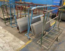 5 x Mobile Metal Frame Trolleys
