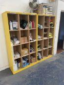 2 x 12 Slot Wooden Storage Units w/ Contents