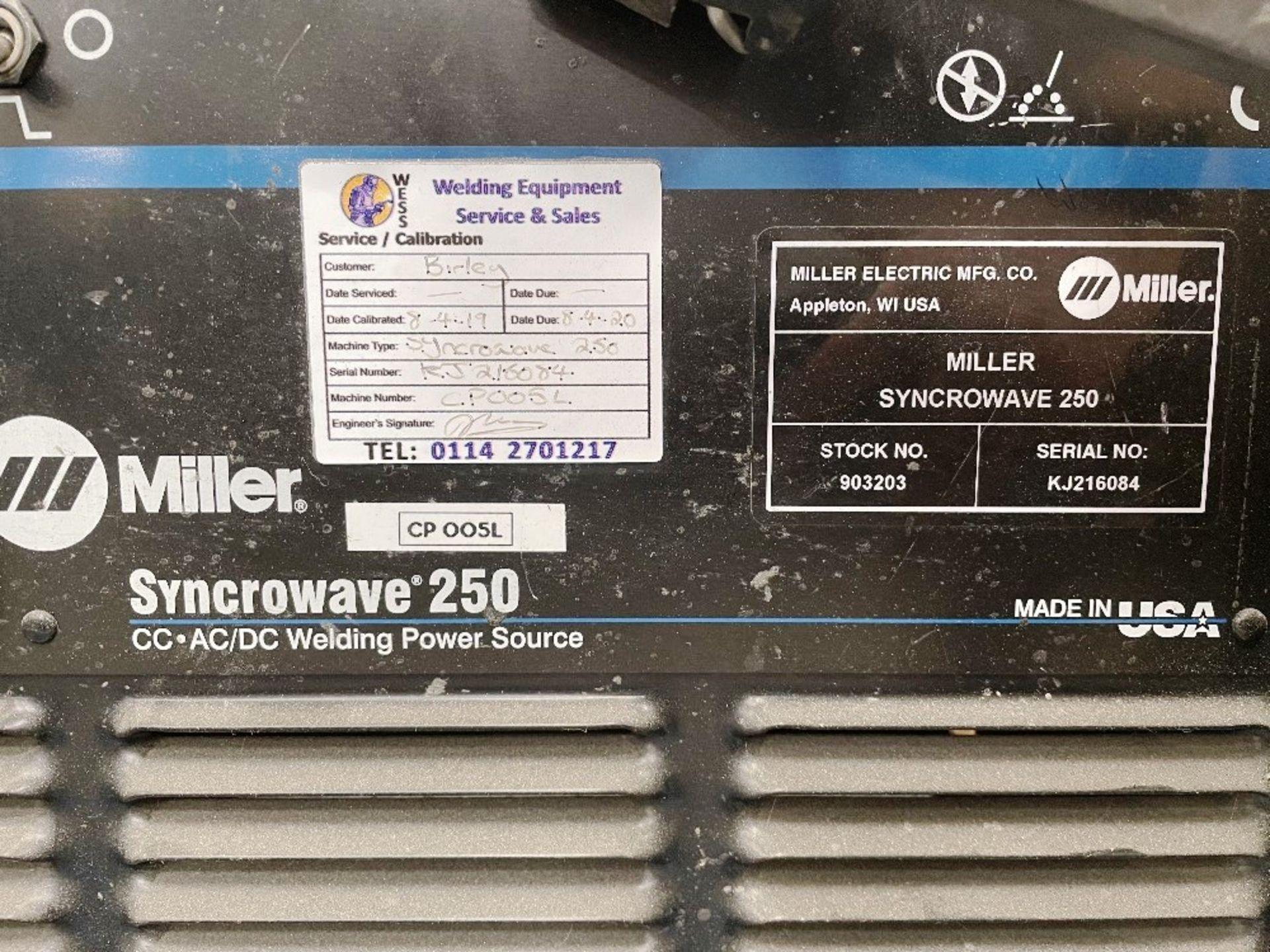 Miller Syncrowave 250 Tig Welder w/ Miller Water Cooler - Image 2 of 5