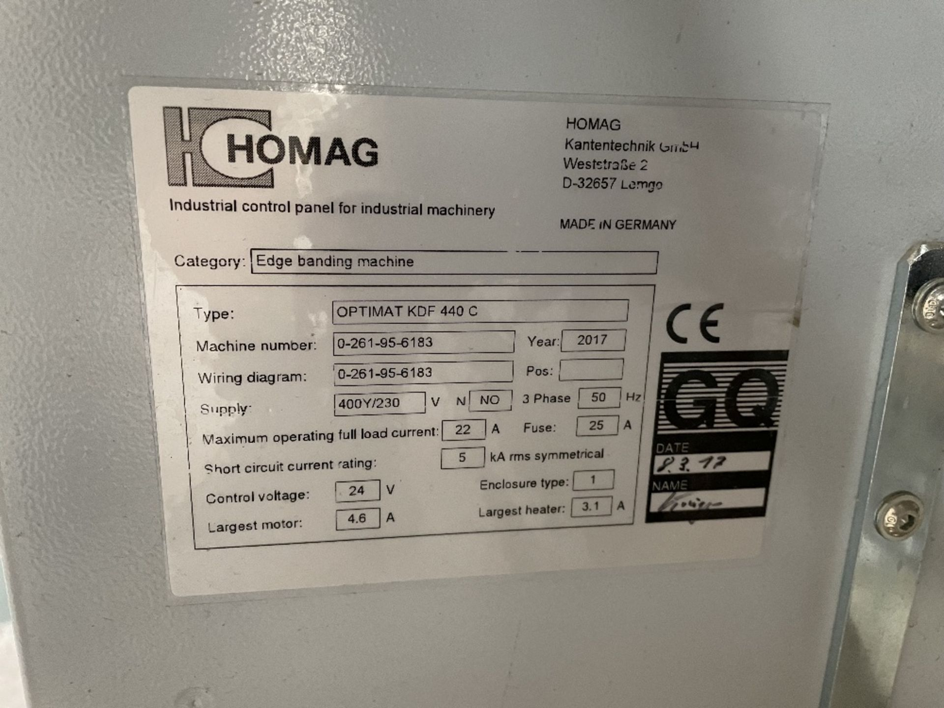 Homag KDF 440 C CNC Edgebander   YOM: 2017 - Image 4 of 4