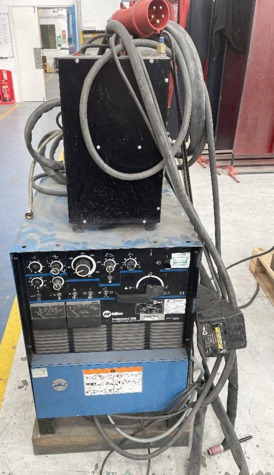 Miller Syncrowave 250 Tig Welder w/ TecArc XC1000 Water Cooler & Foot Pedal