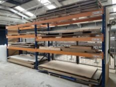 Quantity of Various Plywood/MDF Sheets - As Pictured w/ 2 Bays of Racking