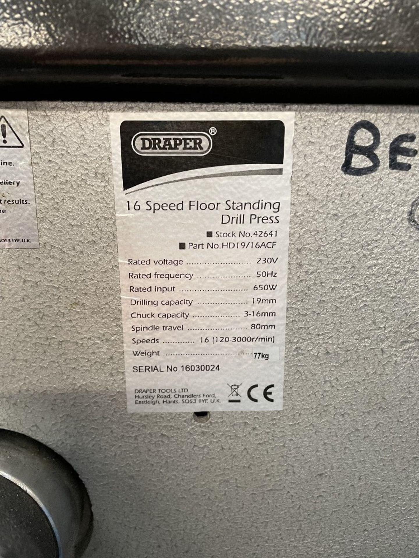 Draper HD19/16ACF 16 Speed Pillar Drill - Image 2 of 4