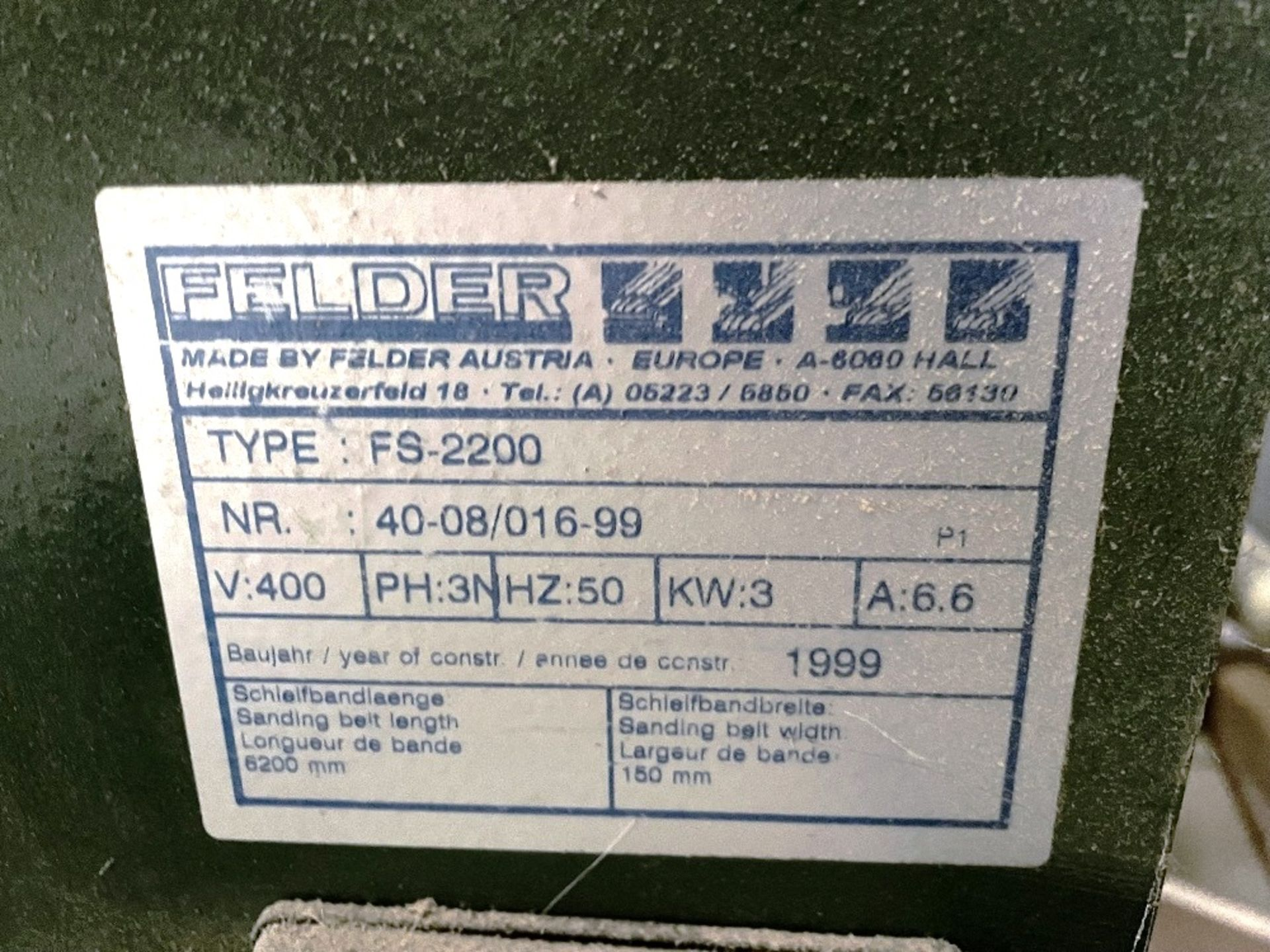 Felder FS 2200 Belt Sander w/ Spare Sanding Belts & Pads - Image 4 of 13