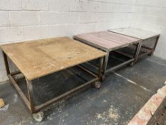 3 x Wood Topped Mobile Fabricated Tables