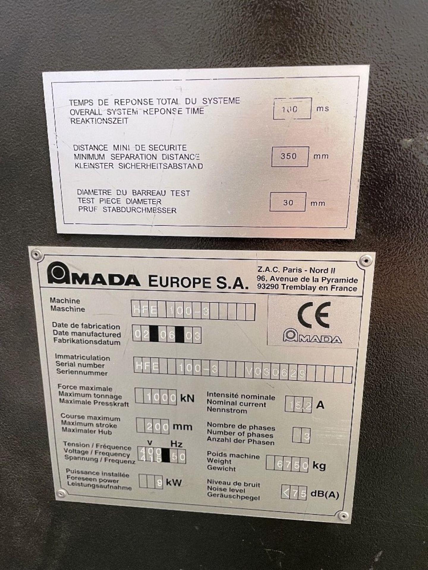 Amada Promecam HFE 100-3 Pressbrake w/ Tooling   YOM: 2003 - Image 4 of 17