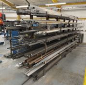 Quantity of Various Metal Box Section & Tubing - As Pictured   Rack Included
