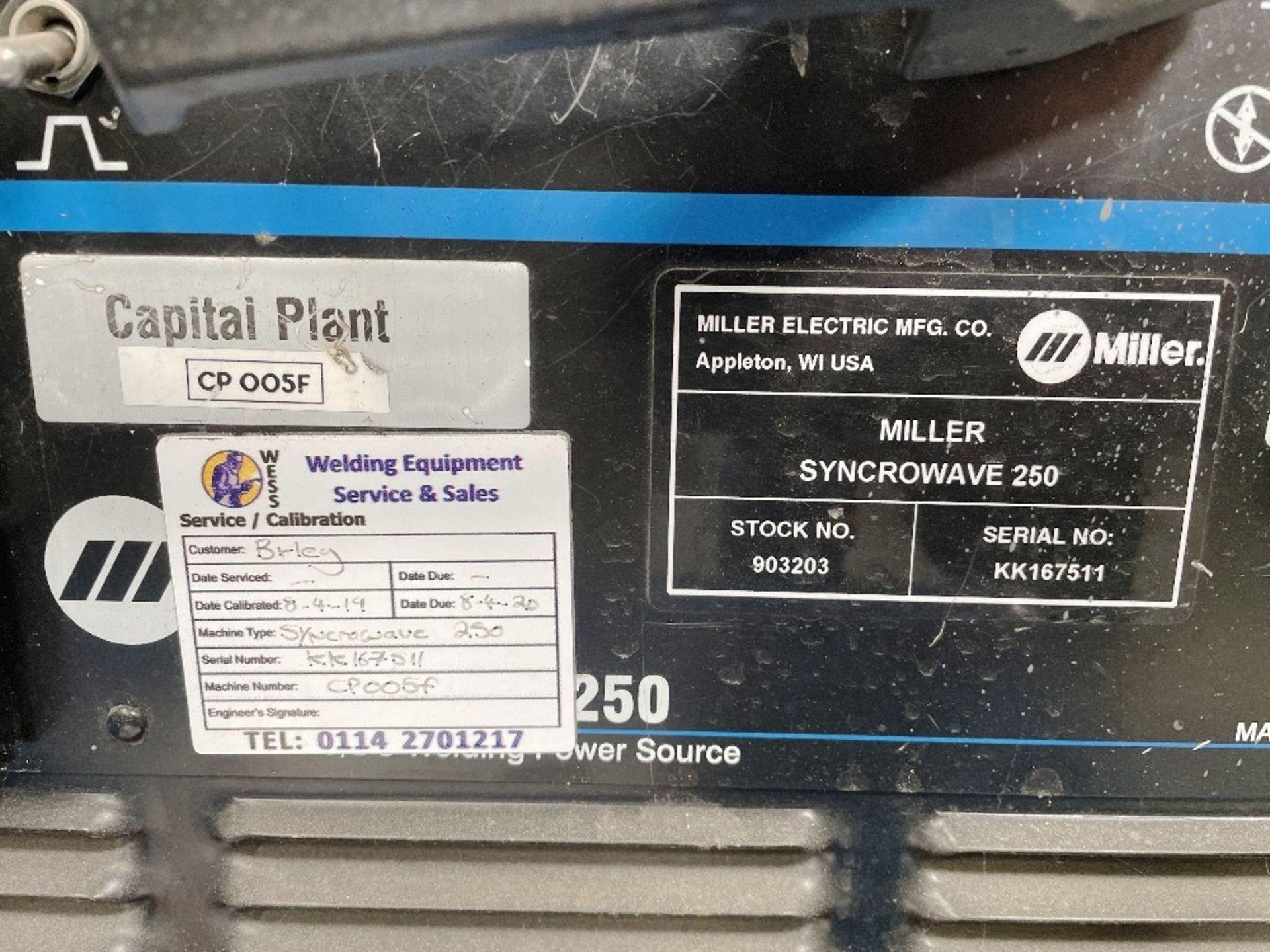 Miller Syncrowave 250 Tig Welder w/ Miller Water Cooler - Image 2 of 4