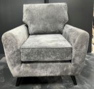 3 x Ex Display Grey Fabric Living Room Chairs