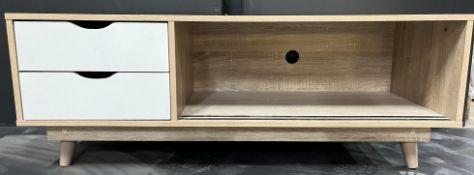 Light Wood Tv Cabinet W/ 2 Drawer