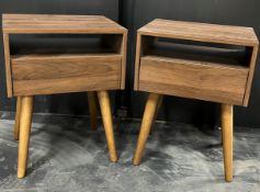 2 x Dark Brown Single Drawer Bedside Cabinets