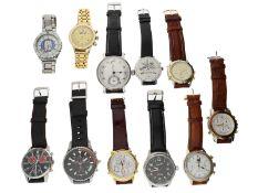 Armbanduhr: Konvolut von 10 vintage Armbanduhren und einer großen vintage Armbanduhr/Taschenuhr