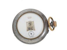 Taschenuhr: seltene digitale Taschenuhr mit springender Stunde und springender Minute, Marke Rev
