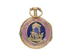 Taschenuhr: sehr kleine und seltene 18K Gold Louis XV Spindeluhr mit Emaillegehäuse und Diamant