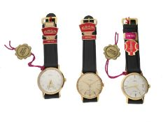 Armbanduhr: vintage Display-Box mit 3 new-old-stock Herrenuhren der Marke Arsa/Unitas, 50er/60er