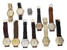 Armbanduhr: großes Konvolut vintage Herrenuhren, ca.1940-1970, 10 x mit Zentralsekunde, Fundgru