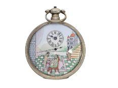 Taschenuhr: sehr seltene Taschenuhr für den chinesischen Markt mit mehrfarbigem Emaillezifferbl