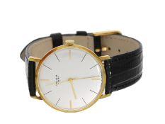 "Armbanduhr: goldene Junghans ""Meister"" mit Zentralsekunde, ca. 1960, mit OriginalboxCa"