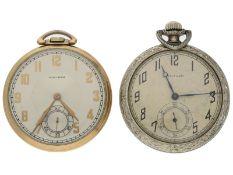 Taschenuhr: Konvolut von 2 attraktiven Waltham Frackuhren, ca. 1920 und 1940Ca. Ø44mm