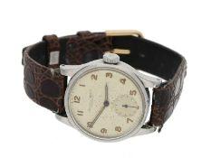 Armbanduhr: frühe IWC Herrenuhr, Schaffhausen 1947Ca. Ø31mm, Stahlgehäuse mit Druck