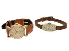 Armbanduhr: Konvolut aus 2 goldenen Armbanduhren von 1926 und 19481. Damenuhr aus der