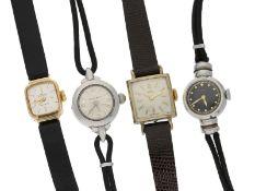 Armbanduhr: Konvolut aus 4 vintage Damenuhren, um 1945-19551. Art déco Damenuhr mit S